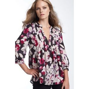 Joie mesa pintuck top purple floral xs tunic